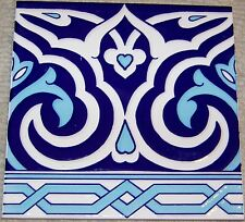 "Floral & Geometric Raised Blue 10 8""x8"" Turkish Iznik Ceramic Tile BORDER"