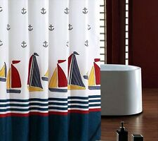 "71"" Waterproof Thickened Polyester White Sailboat Anchors Bath Shower Curtain"