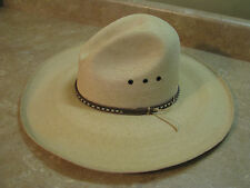 "New SERRATELLI Natural PALM STRAW COWBOY HAT 20X Gus Crease/Dent 4.5""BRIM sz 7"