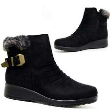 LADIES FAUX FUR GRIP SOLE WOMENS WINTER SNOW ANKLE DESERT BOOTS WEDGE SHOES SIZE