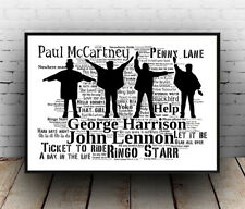 Beatles Help (A2) :  Hit songs Spelled out in poster, Wall art.