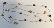 """Estate 18K Rose Gold 45"""" Long Chain Necklace Natural Mixed Gemstones 20 Grams"""