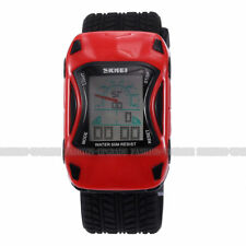 Men Racing Car Digital LED Date Alarm Stopwatch Silicone Quartz Sport Watch Fast