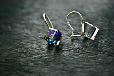 Genuine solid 925 silver earrings Swarovski Elements Blue Cube 10mm gift boxed