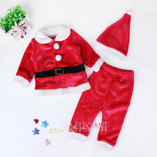 Christmas Santa Claus Toddler Kids Girls Children Costume Dress Outfit Hat Set