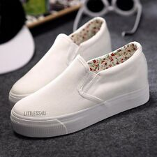 Women Canvas Height Increase Plimsoll Low Top Shoes Platform Sneaker British New
