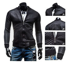 Fashion Men Faux PU Leather Biker Jacket Coat Motorcycle Slim Fit Top Outwear