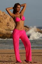 Ujena Hot Pink Sheer Lace Beach Pants Sexy Beachwear Cover-up