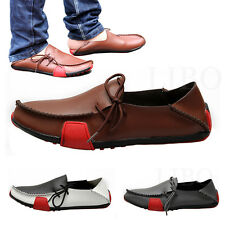 Mens Casual Soft Leather Shoes Driving Moccasins Slip On Breathable Loafers Flat