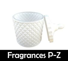 Scented Soy Wax Candle (Scents P-Z) 100% Soy Wax - Double Wick - Geo Jar - White