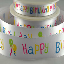 Happy Birthday RIbbon 15mm & 25mm Wide - Multicolour text on white background