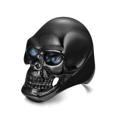 Stainless Steel Men's Skull Head Gothic Punk Rock Biker Ring Black US 8-12