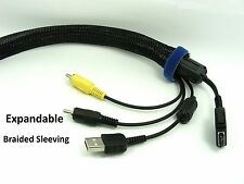 1M/ 2M /3M Wire Harness 40mm Black PET BRAIDED Expandable SLEEVING Cable Wrap
