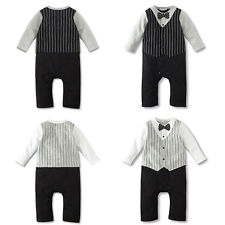 Stylish Kids Baby Boy Bowknot Tie Tuxedo Suit Romper Jumpsuit Outfit Clothes M85