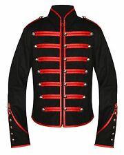 Men's Red & Black Parade Military Marching Band Drummer Jacket Goth Punk Emo