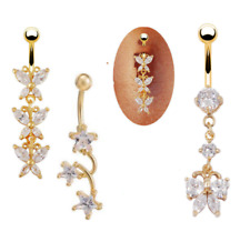 Clear CZ Gem Bar Body Piercing Gold Plated Designer Navel Ring  Belly UK Seller