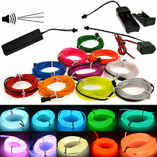 1M-5M LED Glow EL Wire Light String Strip Rope Car Party+Sound Activated Remote