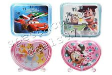 Disney Kids Character Bedroom Bedside Heart Shaped Square Alarm Clock Gifts New