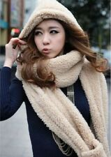 Lady Girl Boy Winter Warm Gift 3-In-1 Cute Plush Hat Scarf Wrap Gloves Mittens