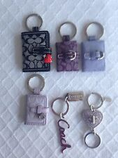 NWOT Coach Purple Script Letters Key Chain Ring Purse Charm Polished BrassNickel