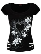 Spiral Pure Of Heart 2in1 White Ripped Women's Black Top