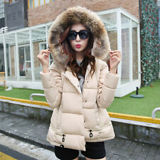 Women Winter Faux Fur Collar Hooded Down Coat Warm Short Parka Jacket Outwear