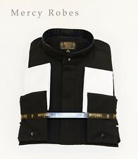 New Mens Full Collar BLACK ROMAN PONTIFF CLERGY SHIRT, Long Sleeve, French Cuff