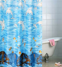"71"" Blue Dolphin Sea Fish Waterproof Bath Shower Curtain Hooks Fabric Home Decor"
