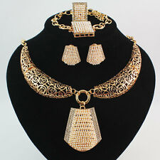 Hot Sale Gold/Plated Rhinestone Pearl Necklace Earring Bangle Ring Jewelry Set
