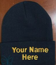 Custom (Personalized) Embroidered Name Beanie  Knit Cap w/Cuff Navy Blue