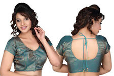 Blue Brocade Readymade Saree Blouse Choli Sari Indian Crop Top
