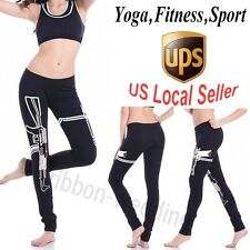 Womens Exercise Leggings Workout Yoga Cycling Fitness Gym Pants Trousers RWPC