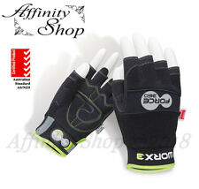 Force360 Fingerless Work Gloves Mechanic Style Hand Protection Any Size NEW