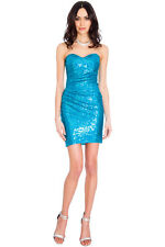 SHORT SEXY SLEEVELESS TURQUOISE SEQUIN PROM FORMAL EVE PARTY DRESS 8-14(WAS £49)