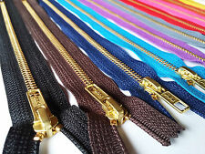 YKK ZIP ZIPPER 5,6,7,8,9,10,12 INCH CLOSE END BRASS GOLD COLOUR METAL 5mm TEETH