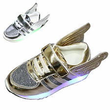 Kid boy girl LED light up sneaker Luminous flat athletic wing shoe boot trainers
