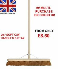 "24"" Soft Broom C/W Handle & Stay Brush Sweeping Industrial Yard Outdoor Strong"