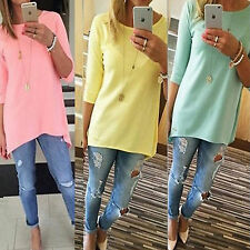 Womens Loose Pullover 3/4 Sleeve Tops Shirt Blouse Round Neck Cotton Tunic Dress