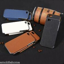 Chrome-plated Plastic Back Cover Case with Leather for iPhone 5 5S