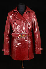 Paris Cherry Red (1123) Ladies Real Cowhide Leather Trench Coat Jacket