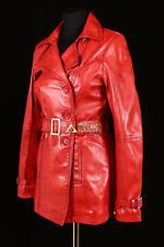 Paris Red Waxed (1123) Ladies Real Cowhide Leather Trench Coat Jacket