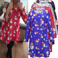 Women Winter Crew Neck Christmas Snowman Snowflake Printed Long-sleeved Dress
