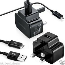 GENUINE SAMSUNG GALAXY MAINS CHARGER  S4 S2 S3 S5 MINI NOTE 2 & USB CABLE BLACK