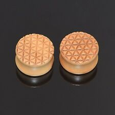 Pair Double Flared Wood Plugs Ear Stretcher Sacred Geometry Gauges Ear Piercing