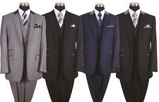 Milano Moda Men's Luxurious Wool Feel 2 Button Suit with Vest Style 57023
