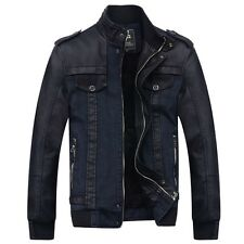 NEW Fashion Men Thicken Warm Coat Jacket Fur lining Collar Denim Leather Outware