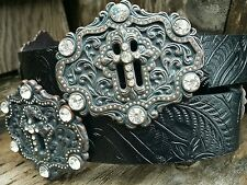 Kamberley Belts Ladies Western Rhinestone Horseshoe Concho Belt - Black or Gray