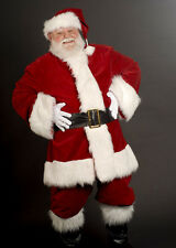 LUXURY DELUXE DEEP RED VELVET SANTA SUIT  PROFESSIONAL FATHER CHRISTMAS COSTUME.