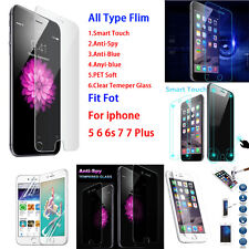 Smart/Anti-Spy/Blue Tempered Glass Screen Protector For Apple iPhone 5 6 6s Plus