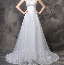 Strapless White Ivory Wedding Dress Bridal Gown Custom Size 6/8/10/12/14/16/18+